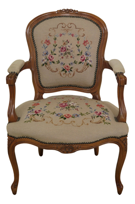 French Louis XV Style Needlepoint Upholstered Arm Chair