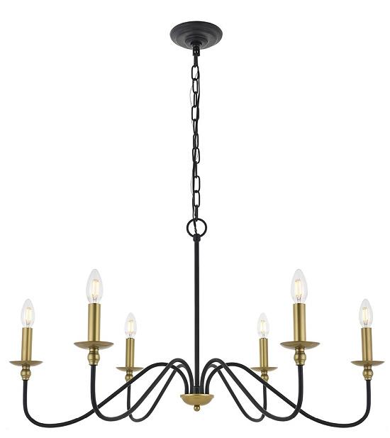 Rohan 6 light Matte Black and Brass Pendant - Matte Black and Brass