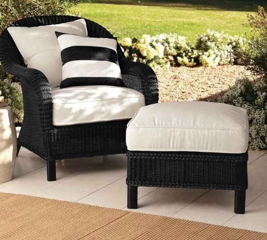 Palmetto All-Weather Wicker Armchair, Black