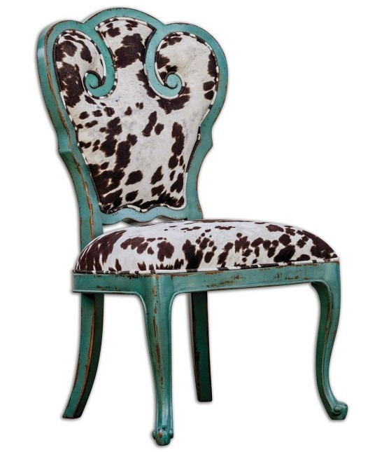 turquoise-cowhide-dining-chair