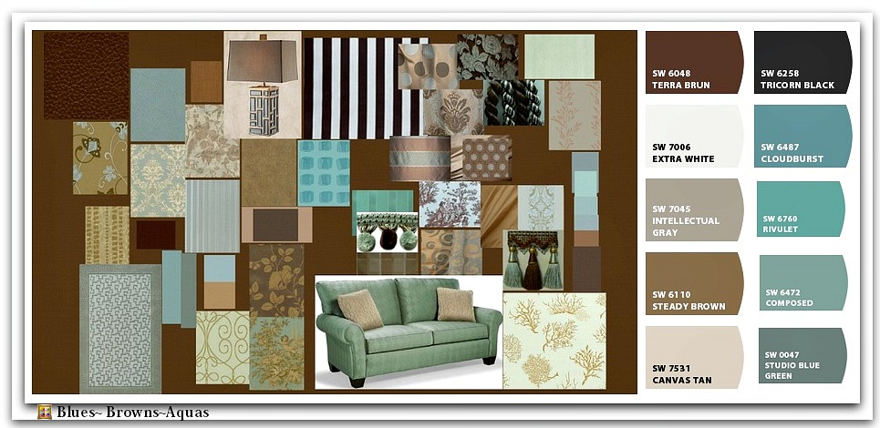 Ashley furniture series name candlewick linen item for Turquoise color scheme living room