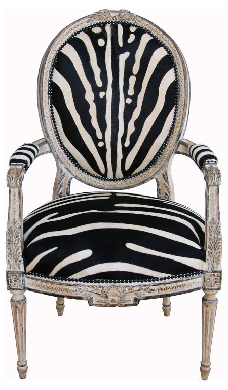 antique accent chair zebra upholstery