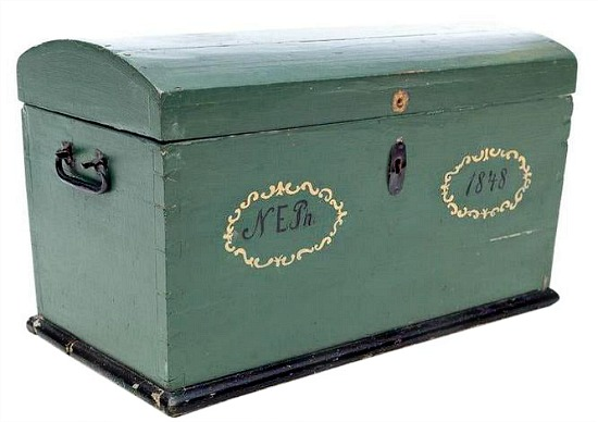 19th Century Swedish Country Hand Painted Pine Wooden Wedding Trunk - c.1848