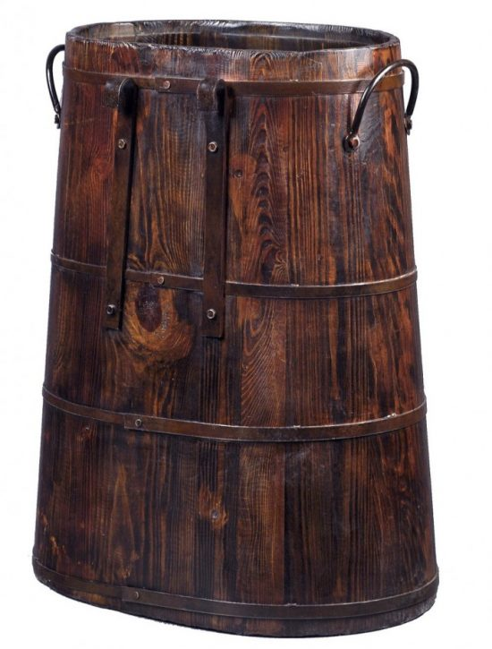 Antique-Revival-Saddle-Bucket-with-Iron-Handles-BU011A-Natural