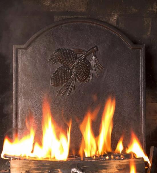 Cast Iron Fireback with Pine Cone Design