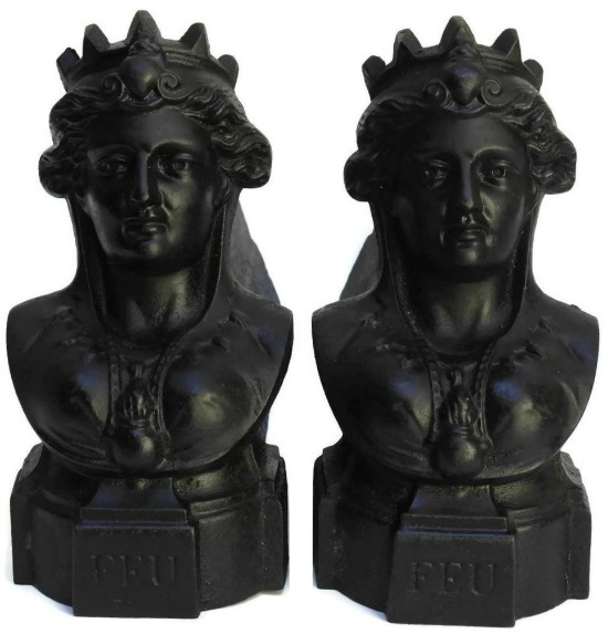 Cast Iron Queen Bust Andirons, Antique French Figural Firedogs