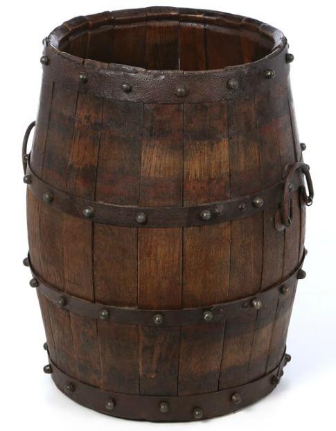 Ira Studded Barrel with Iron Handles Bucket