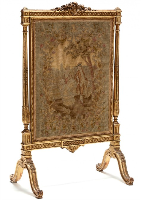 Louis XVI Style Carved and Gilt Fire Screen