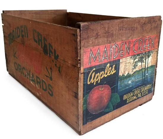 Maiden Creek Apples Wooden Crate