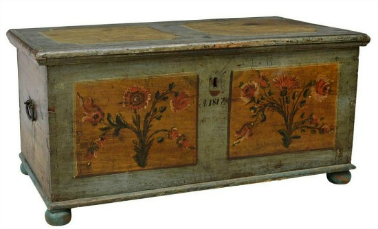 Northern European paint decorated storage trunk/ blanket chest, c.1817