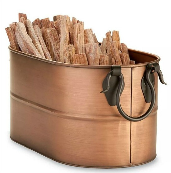 Copper Finished Firewood Bucket With 5 lbs. Fatwood Resin Rich Pre-Split Kindling for Easily Starting Fires