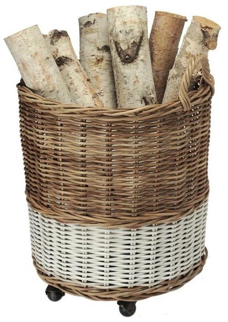 Round Two-Tone Wicker Storage Basket and Planter on Wheels By KOUBOO
