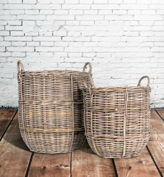Sweet Plum 2 Piece Rattan Basket Set