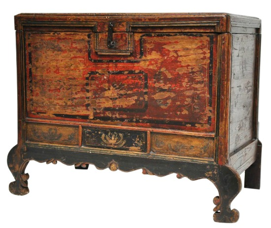 Chinese Country Antique Painted Cedar Trunk