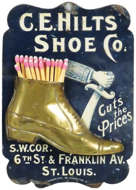 C.E. Hilts Shoe Co. Tin Litho Match Holder