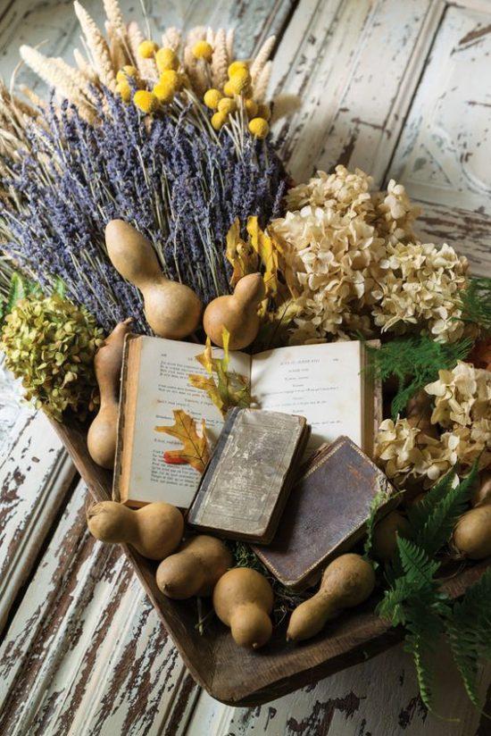 natural centerpiece fall dough bowl