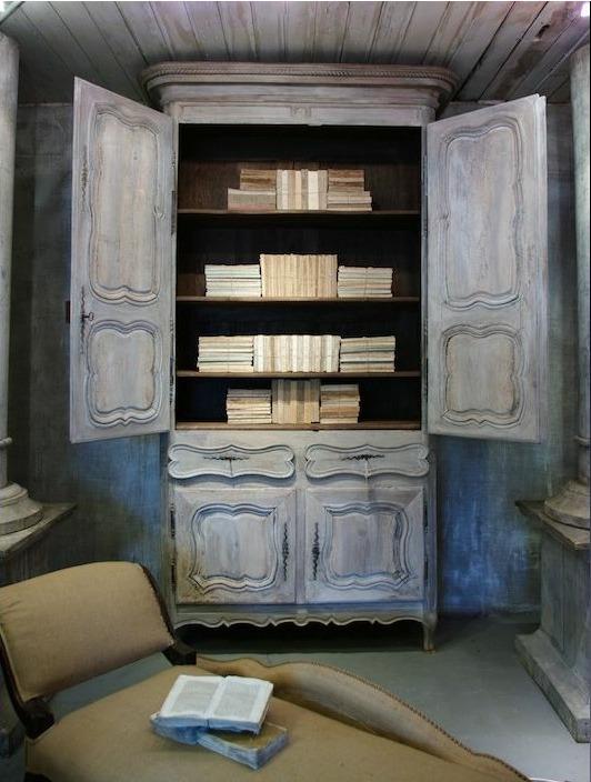 antique distressed armoire