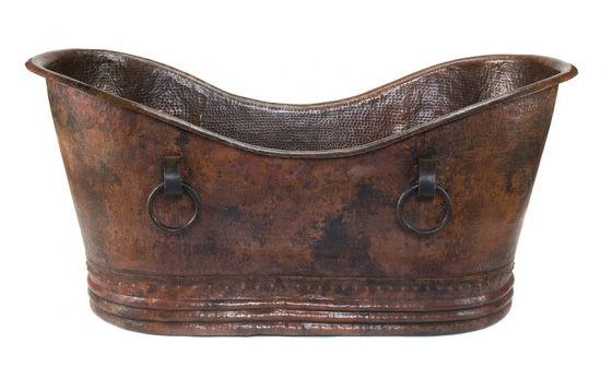 premier-copper-products-Hammered-Copper-Double-slipper-Bathtub