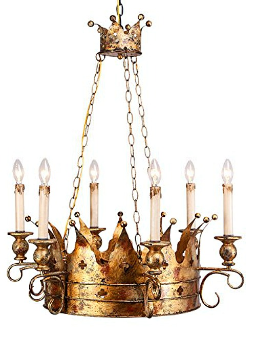 Lovedima Vintage Noble Crown Candelabra Style Chandelier Metal in Antique Gold (8-Light)