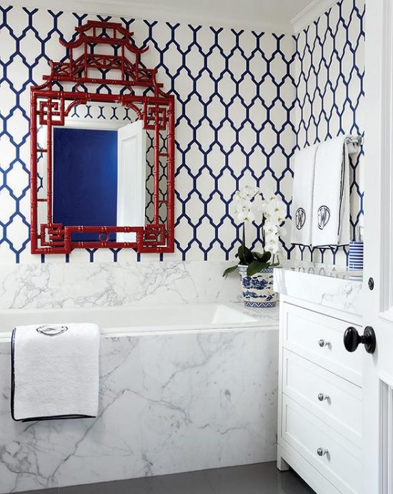 red-bamboo-pagoda-mirror-navy-blue-moroccan-trellis-wallpaper
