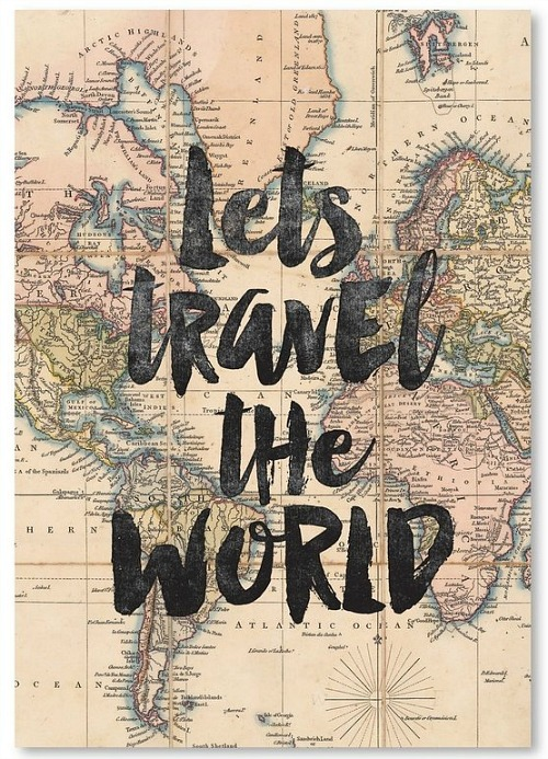 Lets+Travel+the+World+BW+Textual+Art+Poster