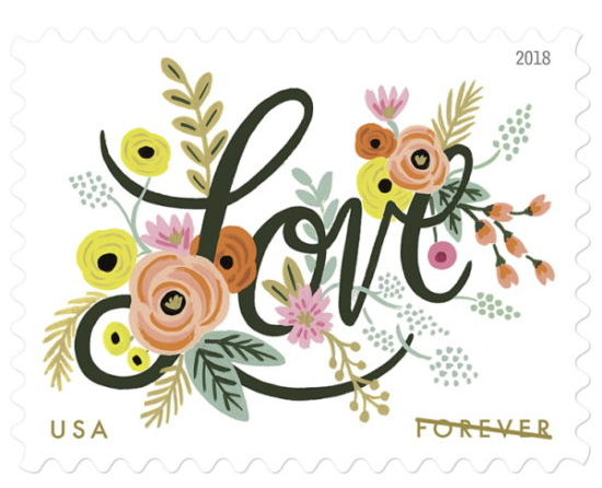 love flourishes postage stamp