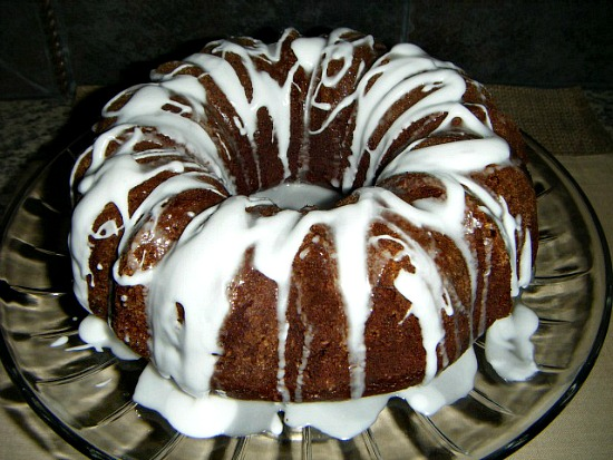 Kahlua cake with vodka glaze