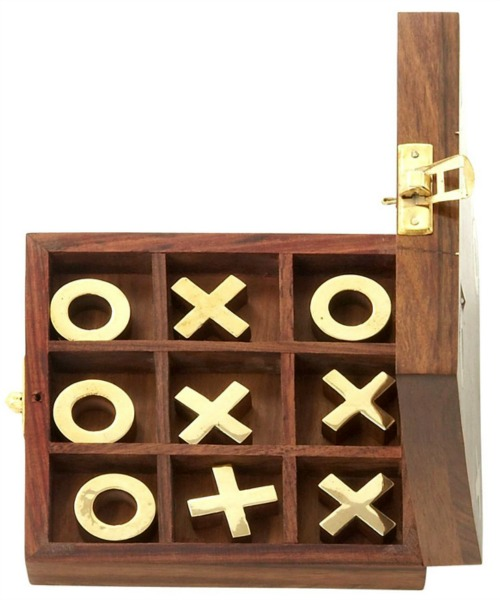 Decmode Wood and Brass Tic Tac Toe