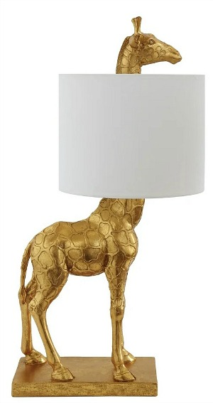 Giraffe Lamp with Linen Shade