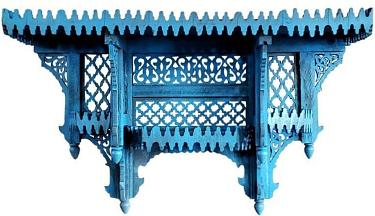 Moroccan Blue Wooden Wall Shelf - Aged Blue