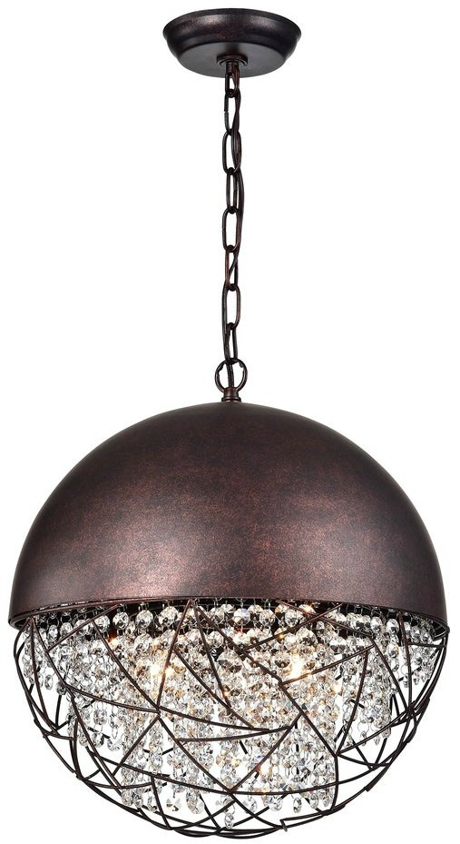 Warehouse of Tiffany Havira 3-light Antique Copper Chandelier with Crystals