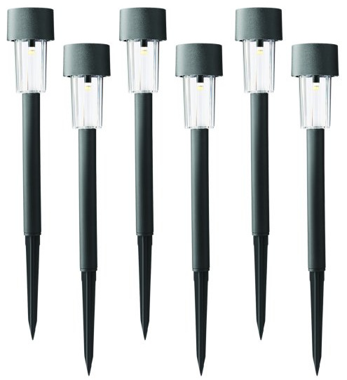 Mainstays Column Solar Powered LED Path Light and Landscape Light, Black Plastic (6-Pack)