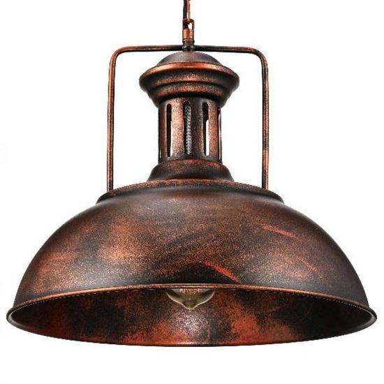 Rustic-industrial-dome-pendant-light,-single-vintage-copper-chandelier