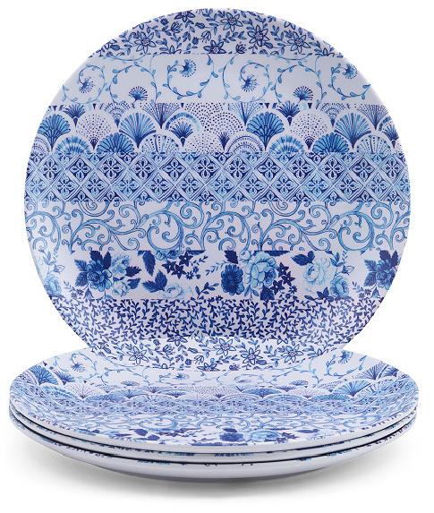 Set Of 4 Delft Pottery Melamine Dinner Plates