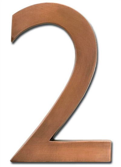 4 in. Antique Copper Floating House Number