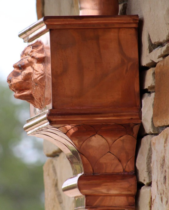 decorative exterior copper gutter