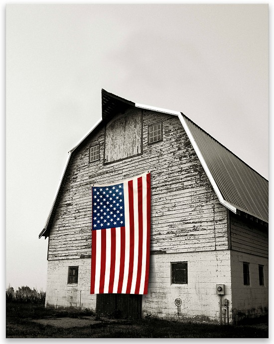 flag on barn canvas art print