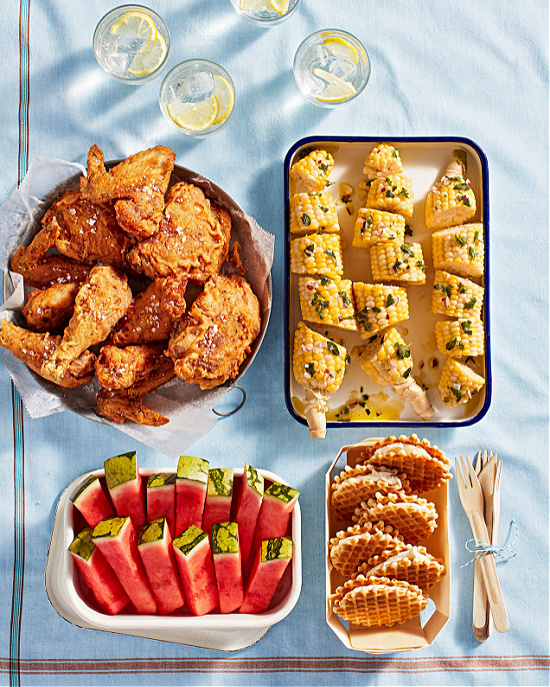 fried-chicken-corn-sliced-watermelon-waffle-cookies-picnic-food-Martha-Stewart-photo-Kate-Mathis