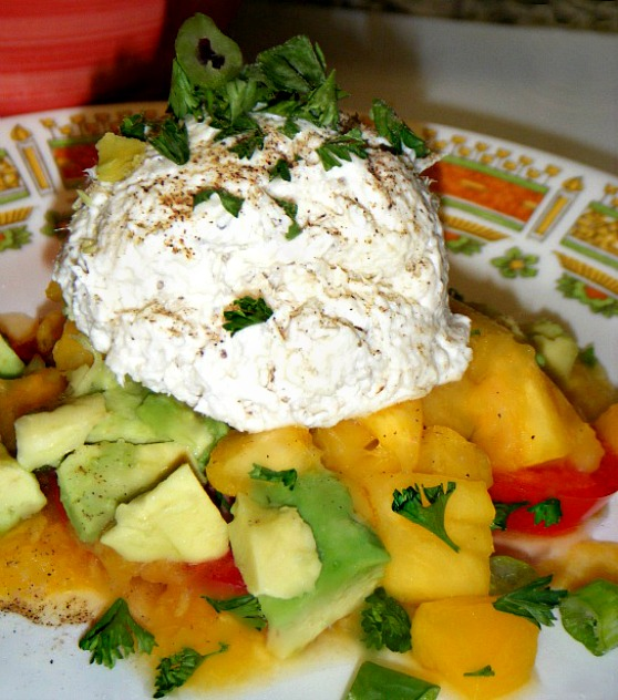 chicken-salad-tomato-peach-and-avocado-stacks-with-peach-puree