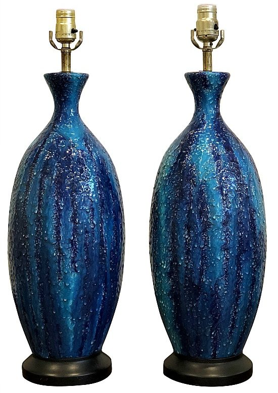 mid-century-italian-modern-blue-glazed-ceramic-sculptural-table-lamp