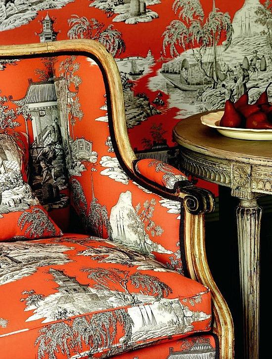 black orange chinoiserie fabric chair