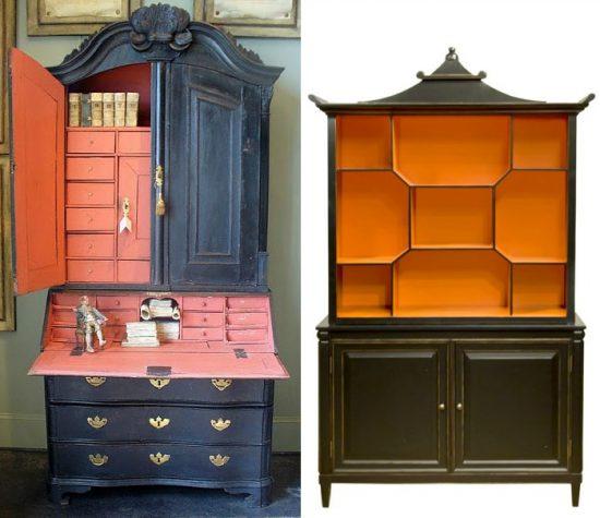 black and orange furniture