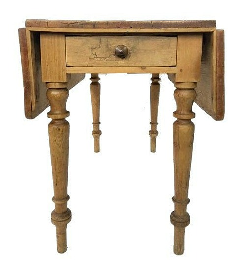 Antique English Country Scrubbed Pine Drop Leaf Table c1890