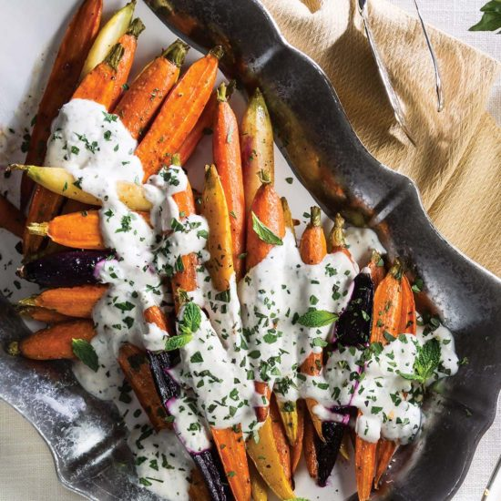 Cane Syrup-Roasted Carrots with Garlic-Herb Yogurt Sauce