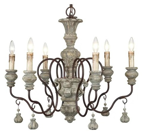 Halen Elton Home 6-light old European french country wood chandelier with droplets tassels
