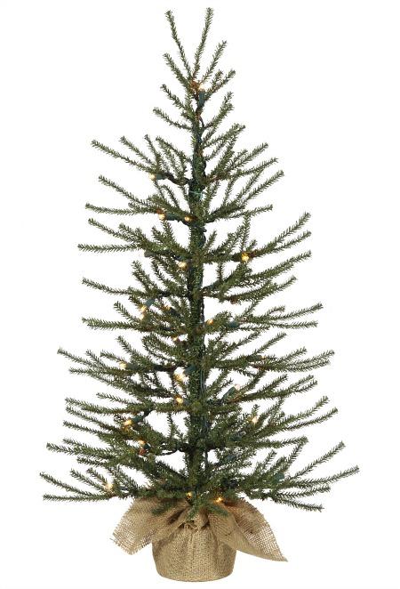 burlap base faux Christmas tree