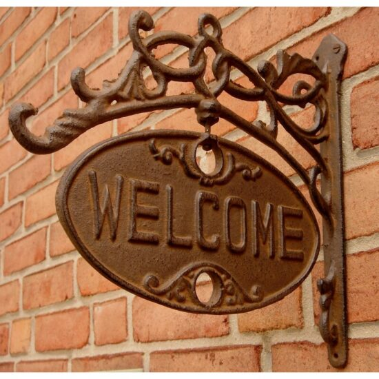 Welcome+Or+Go+Away+Sign+Ornate+Cast+Iron+Front+Door+Plaque