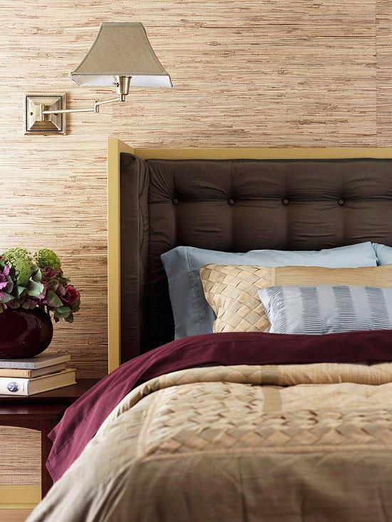 wallpapered bedroom
