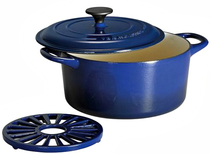 blue cast iron dutch oven