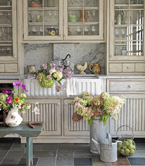 spring flowers in farmhouse sink